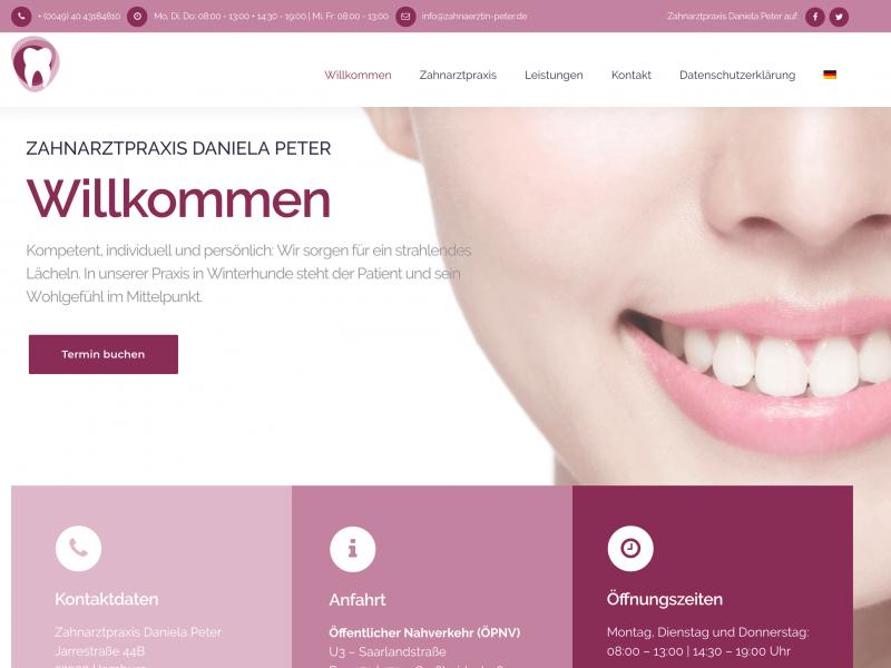 Webseite Zahnarztpraxis Daniela Peter